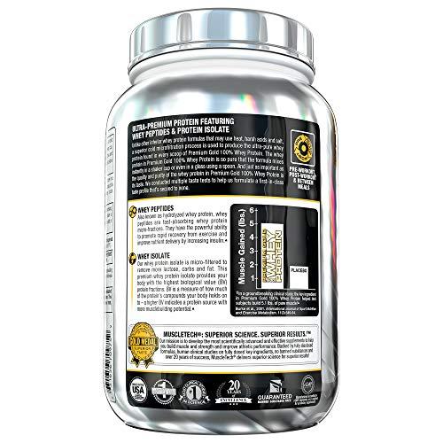 Protein Powder | MuscleTech Premium Gold 100% Whey Protein Powder | Whey Protein Isolate & Peptides | Whey Isolate Protein Powder for Women & Men | Vanilla Protein Powder, 2.2 lbs (30 Servings)