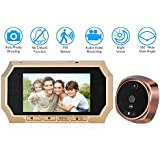 KKmoon 4.3 LCD Digital Peephole Viewer 160° PIR Door Eye Doorbell Camera IR Night Vision Photo Taking/Video Recording for Home Security