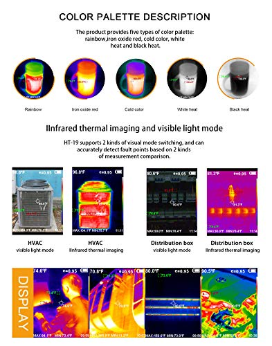 """Higher Resolution 320 x 240 IR Infrared Thermal Imaging Camera. Model HTI HT-19 with Improved 300,000 Pixels, Sharp 3.2"""" Color Display Screen, Battery Included. Lightweight Comfortable Grip."""