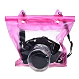 Coromose Digital Camera DSLR Case Underwater Pouch Bag For Canon for Sony (Pink)