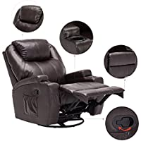 Massage Recliner Chair, 360 Degree Swivel and Heated Recliner Bonded Leather Sofa Chair with 8 Vibration Motors, Brown