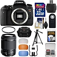 Canon EOS Rebel T6s Wi-Fi Digital SLR Camera Body with 18-200mm VC Lens + 32GB Card + Case + Filter + Tripod + Flash Diffusers + Kit