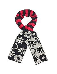 Jefferies Socks Girls Black Contrast Daisy Stripe Pattern Cotton Knit Scarf