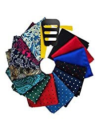 201ac71e51059 Pocket Squares for men 15 Pack set in Gift Box Assorted colors and patterns
