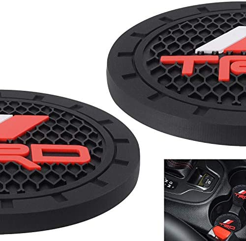 AOOOOP Car Interior Accessories for TRD PRO Cup Holder Insert Coaster – Silicone Anti Slip Cup Mat for Racing Development Sequoia Tundra Tacoma 4Runner TRD PRO (Set of 2, 2.75″ Diameter)