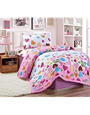 Kids 3Pcs Compressed Comforter Set, Single Size, Hearts, Pink, Microfiber