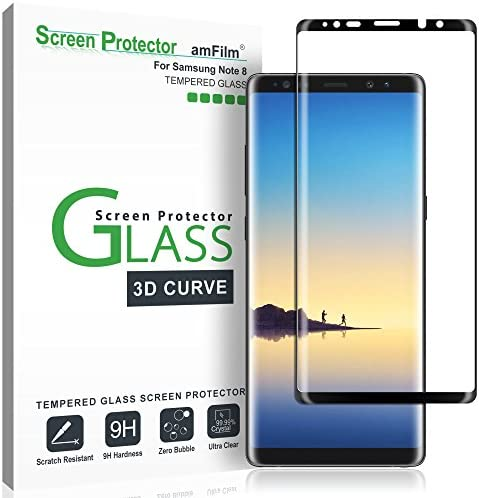 amFilm Glass Screen Protector for Samsung Galaxy Note 8, Full Screen Coverage, 3-d Curved Tempered Glass, Dot Matrix with Easy Installation Tray (Black)