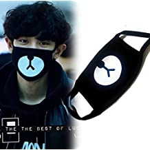 queenneeup Cute Bear Black Mask, Exo Mask, Anti-Dust Mask, Fashion Mask