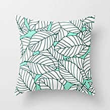Decorative Square Pillow Case Cushion Cover 26X26 Inches Sweet leafs Mint