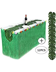 HBBMagic Hawaiian Table Skirt Tropical Decoration (9ft wide 2.5ft height) is Used Hawaiian Grass Beach Party Barbecue Decoration (Green)