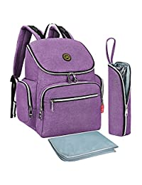 S-ZONE Multi-function Baby Diaper Bag Backpack with Changing Pad and Portable Insulated Pocket (Purple)