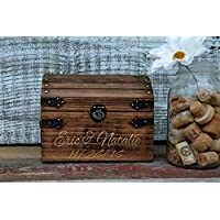 Wedding Card Box Chest Shabby Chic Espresso Color Engraved Personalized Front Holds Approximately 75+ cards