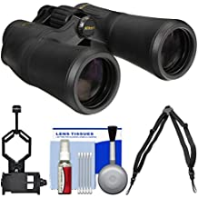 Nikon Aculon A211 10x50 Binoculars with Case with Harness Strap + Smartphone Adapter + Cleaning Kit