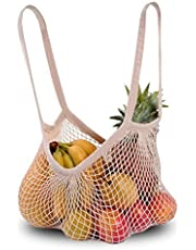 Cotton Net Shopping Tote Ecology Market String Bag Organizer, New Fashion for Street Snap (Long Strap, White)