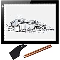 Huion 17.7 (Diagonal Length) Ultra Bright LED Animation Drawing Tracing Stencil Board Tattoo Pad Light Pad Panel A4 with Kenting Cleaning Cloth