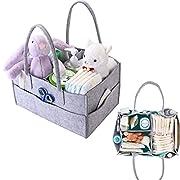 Baby Diaper Caddy Organizer, Nursery Organizer Storage Bin and Car Organizer for Diapers Portable Travel Organizing Basket