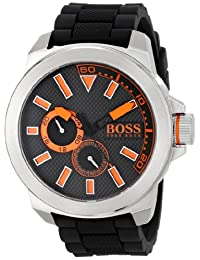 """Boss Orange Men's 1513011 """"New York"""" Stainless Steel Watch with Black Silicone Band"""