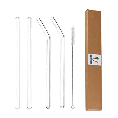 Glass Straws Clear 9  x 10 mm Drinking Straws Reusable Straws Healthy, Reusable, Eco Friendly, BPA Free, 4 Pack With Cleaning Brush