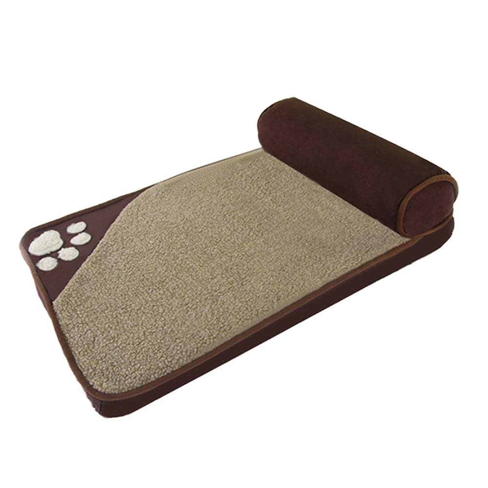 60×35cm ZXL Brown Orthopedic Pet Bed, for Large Medium Small Dog, Memory Sponge, Removable Cover, Offers Head Neck and Joint Support (Size   60×35cm)