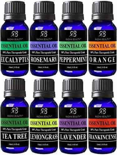 Radha Beauty Aromatherapy Top 8 Essential Oils 100% Pure & Therapeutic grade - Basic Sampler Gift Set & Kit (Lavender, Tea Tree, Eucalyptus, Lemongrass, Orange, Peppermint, Frankincense and Rosemary)