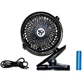 iDealGeeks Battery Operated Clip on Mini Desk Silent Portable Fan, Black