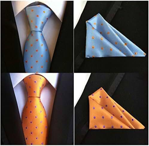Weishang Mens ties Silk & Pocket Square Handkerchief Suit SET Paisley Wedding