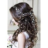 Kercisbeauty Bridal Hair Accessories Wedding Headband Long Crystal Hair Vine Pearl Evening Party Headpiece for Women (Rose Gold)
