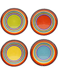 Certified International Tequila Sunrise Salad/Dessert Plate, 9-Inch, Assorted Designs, Set of 4