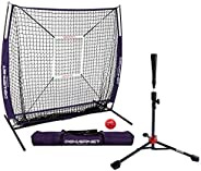PowerNet 5x5 Practice Net + Deluxe Tee + Strike Zone + Weighted Training Ball Bundle | Baseball Softball Pitch