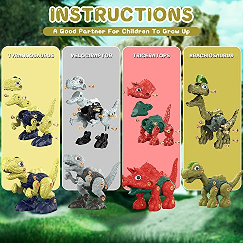 WANFEI Dinosaur Toys, 4 Pack of Take Apart Dinosaurs Construction Building Toy Set with Electric & Hand Drill for Kids 3 4 5 6 7 8 , STEM Kids Toys for Toddlers Boys Girls Birthday Gifts