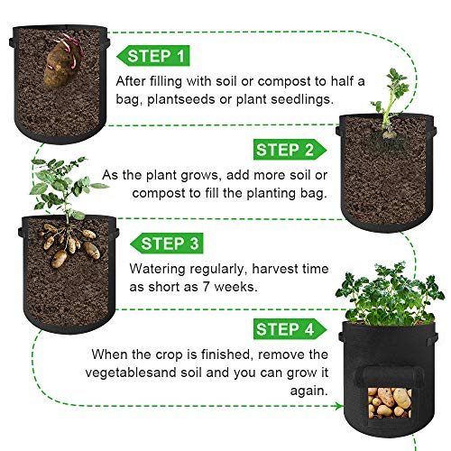 Grow Bags 3 Gallon - 5 Pack Potato Grow Bags Two SidesVelcro Window Vegetable Grow Bags, Double Layer Premium Breathable Nonwoven Cloth for Potato/Plant Container/Aeration Fabric Pots with Handles
