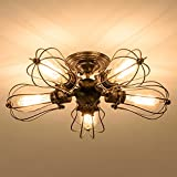Vintage Ceiling Light Industrial Semi-Flush Mount Ceiling Light Metal Fixtures Painted Finish; Moonkist (With 5 Light)
