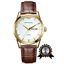 BRIGADA Swiss watches Classic Gold Waterproof Sport Watch for Men Boys (white)