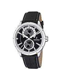 Festina Men's Multifunction F16573/3 Black Leather Quartz Watch with Black Dial