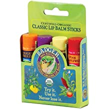 Classic Lip Balm - Tangerine Breeze, Lavender & Orange, Vanilla Madagascar, Pink Grapefruit 4Pk