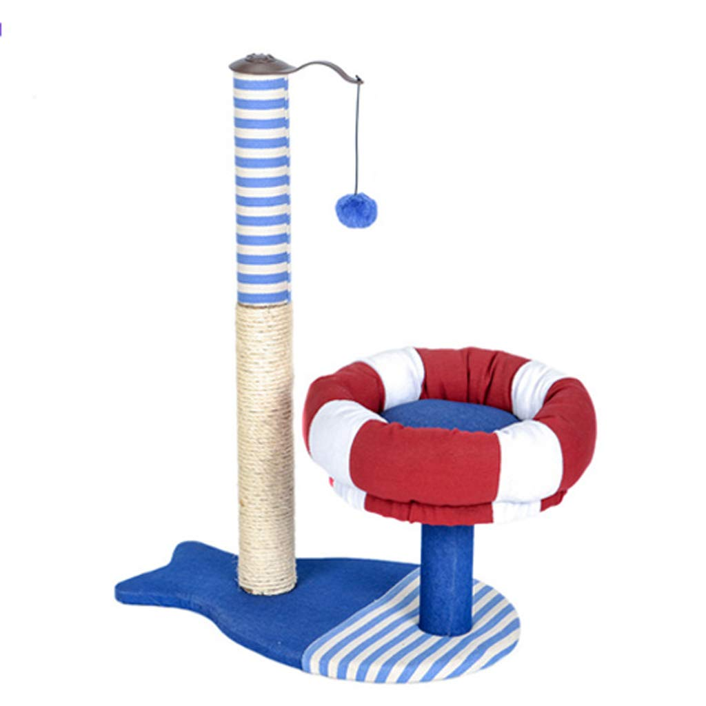 C Pet nest pirate ship cat climbing frame Cat toy cat jumping table cat tree cat scratch board with watchtower sisal rope cat toy 54  34.5  75cm