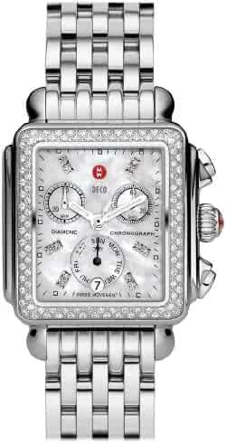 Michele Deco Day Diamonds Chronograph Mother of Pearl Dial Silver Women's Watch MWW06P000099