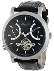 Kenneth Cole New York Mens KC8015 Automatic Round Black Dial Rose Gold Detail Strap Watch