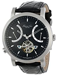 Kenneth Cole New York Men's KC8015 Automatic Round Black Dial Rose Gold Detail Strap Watch