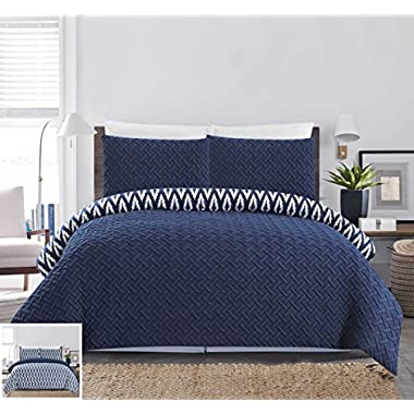 Chic Home 3 Piece Ora Heavy Embossed and Embroidered Quilted geometrical pattern REVERSIBLE printed Queen Comforter Set Navy