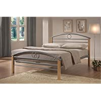MALKO Silver Metal Bed Frame with Wooden Posts and Arch Headboard Bedframe 7005T