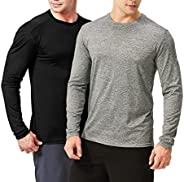 TEXFIT Men's 2-Pack Active Sport Long Sleeve Shirts with Quick Dry Fabric (2 pcs