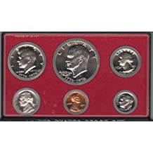 1975 Birth Year Coin Set (6) Proof Coins Dollar, Half Dollar, Quarter, Dime, Nickel, and Cent 3 Coins Dated with Bicentennial Date 1776-1976 and 3 Coins Dated 1975 And Encased in A Plastic Display Case Choice Uncirculated