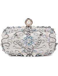 Chichitop Women Noble Floral Pearl Beaded Rhinestone Evening Clutch Wedding Purse