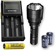 Bundle: Nitecore P30 1000Lm LED Flashlight + 1x Nitecore 1835, D2 Charger, & 2X Free Eco-Sensa CR123A Batt