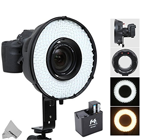 Fomito Portable LED Macro Ring Flash Light DVR-240DF 3200k-6500k for Canon Nikon Sony Pentax DSLR Cameras + MV-AD1 Replacement Battery Box Adapter for Sony NP-F750, AA Batteries