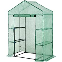 """Outsunny 56"""" x 29"""" x 76"""" Portable Walk-In Garden Greenhouse with Built In 3-Tier Shelves"""