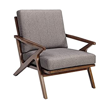 Ashley Furniture Signature Design - Wavecove Accent Chair - Mid Century Modern - Brown Maple-Tone Finish - Beige Linen-Weave Loose Cushion