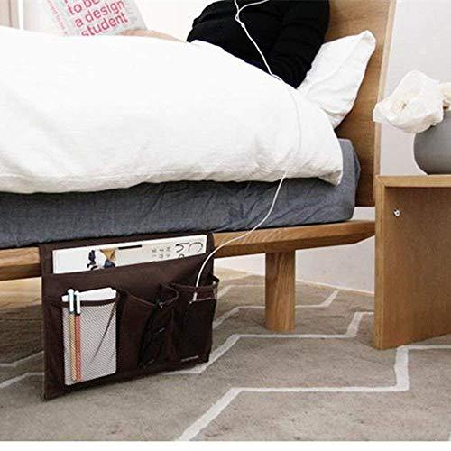 HAKACC Bedside Organiser, Brown Bedside Pocket Bedside Storage Organiser for Bunk Bed Sofa Sorting Book Phone Tablet Glasses