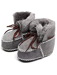 HONGTEYA Sheepskin Baby Bootie- Infants Warm Fur Wool Girls Baby Plush Boots Leather Boy Shoes